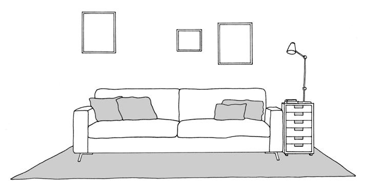 sofa on rug