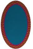 rug #1044522 | oval plain blue-green rug