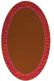 rug #1044674 | oval plain red-orange rug