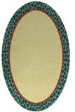 rug #1044730 | oval plain yellow rug
