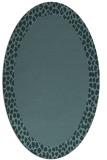 rug #1046314 | oval plain blue-green rug