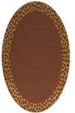 rug #1046386 | oval plain brown rug