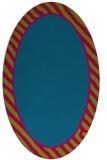 rug #1048202 | oval plain blue-green rug