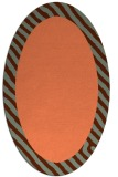 rug #1050134 | oval plain red-orange rug