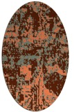 rug #1070634   oval red-orange faded rug