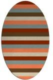 rug #107373   oval orange retro rug