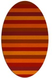 rug #107421 | oval orange stripes rug