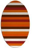 rug #107445 | oval red-orange stripes rug