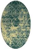 rug #1081790 | oval yellow damask rug