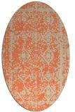 rug #1083510 | oval orange damask rug