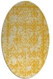 rug #1083614 | oval yellow damask rug