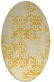 rug #1094654 | oval yellow damask rug