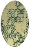rug #1094670 | oval yellow damask rug