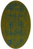 rug #1098098 | oval green damask rug