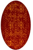 rug #1098222 | oval orange damask rug