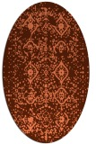rug #1098234 | oval orange damask rug