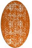 rug #1098298 | oval red-orange damask rug