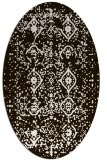 rug #1098318   oval brown damask rug