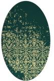 rug #1102030 | oval yellow faded rug