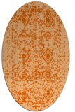 rug #1103810 | oval red-orange damask rug