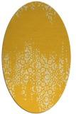 rug #1105694 | oval yellow damask rug