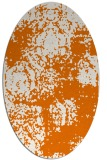 rug #1107426 | oval orange damask rug