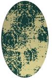 rug #1107550 | oval yellow faded rug
