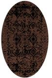 rug #1109074   oval brown damask rug