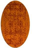 rug #1109326 | oval red-orange damask rug
