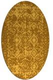 rug #1109386 | oval yellow damask rug