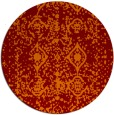 rug #1109998 | round red-orange damask rug