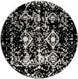 rug #1110082 | round black damask rug