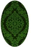 rug #1129595 | oval green geometry rug