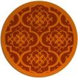 rug #1140511 | round red-orange damask rug
