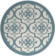 rug #1140547 | round blue-green damask rug