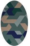 rug #1141383 | oval blue abstract rug