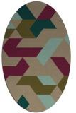 rug #1141455 | oval mid-brown retro rug