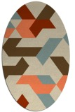 rug #1141559 | oval orange abstract rug