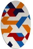 rug #1141599 | oval red geometry rug