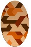 rug #1141619 | oval red-orange geometry rug