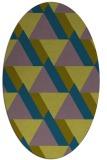 rug #1143259 | oval green geometry rug