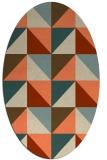 rug #1152599 | oval orange retro rug