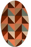 rug #1152603 | oval red-orange geometry rug