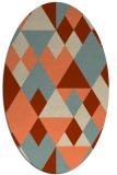 rug #1154439 | oval orange retro rug