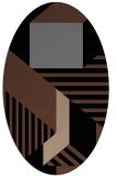 rug #1181879 | oval black stripes rug