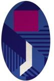 rug #1181963 | oval blue-violet graphic rug