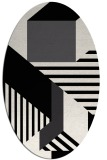 rug #1182151 | oval white stripes rug