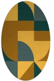 rug #1184031 | oval yellow graphic rug