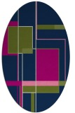 rug #1187427 | oval blue graphic rug