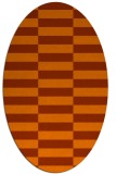 rug #1195019 | oval red-orange check rug